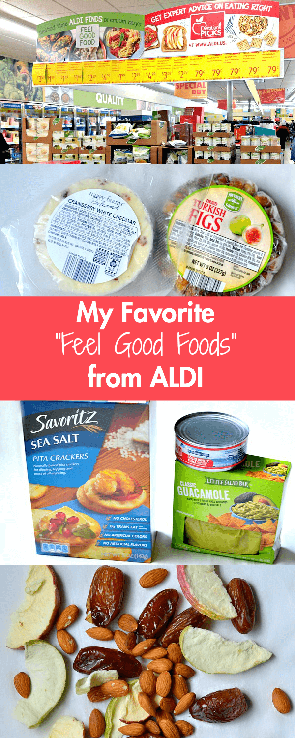 A round-up of my favorite feel good foods from ALDI with snack ideas featuring organic and natural products like nuts, cheeses, fruits, chia pudding and more.