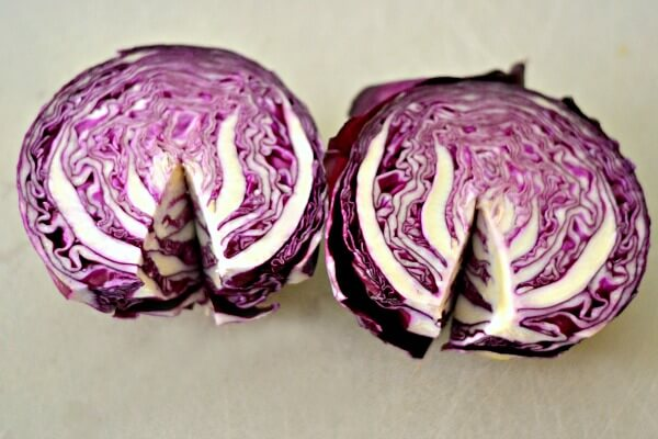 A head of red cabbage.