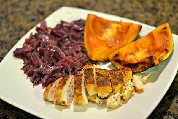 Chicken breasts with braised red cabbage and roasted kabocha squash