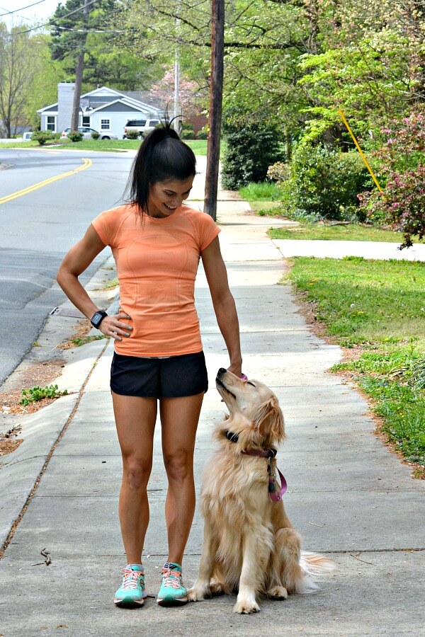 TomTom Spark Cardio + Music GPS Fitness Watch running with dog