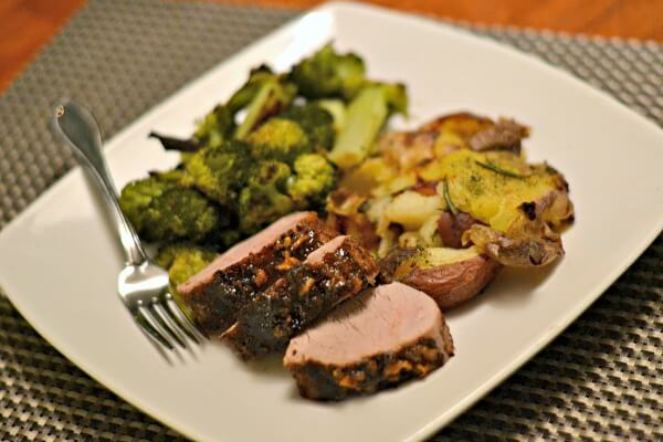 Island pork tenderloin with smashed potatoes and broccoli