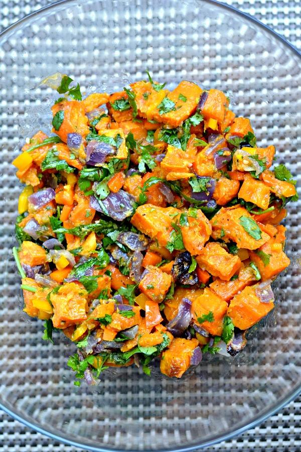 Roasted Sweet Potato Salad with Chili Lime Garlic Vinaigrette. A creative alternative to traditional potato salad and gluten-free, Paleo and Whole30 friendly.