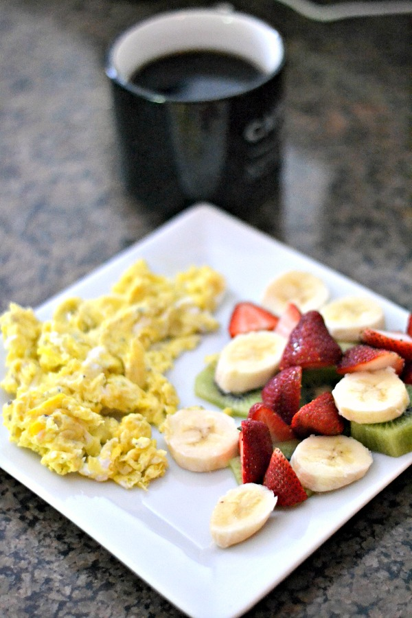 Scrambled Eggs and Fruit