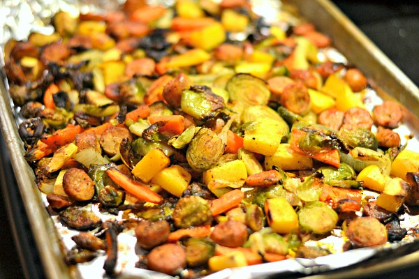 One-pan roasted vegetable dinner with Italian Chicken Sausage