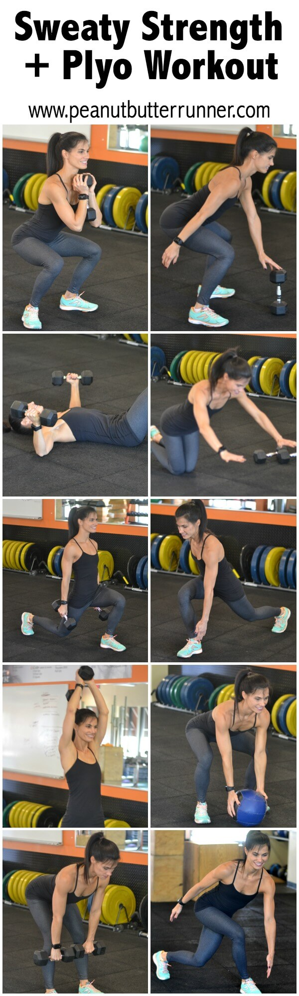 This Sweaty Strength + Plyo workout alternates strength and plyometric exercises for a workout that will challenge your muscular endurance, keep your heart rate up and help you build speed and power.