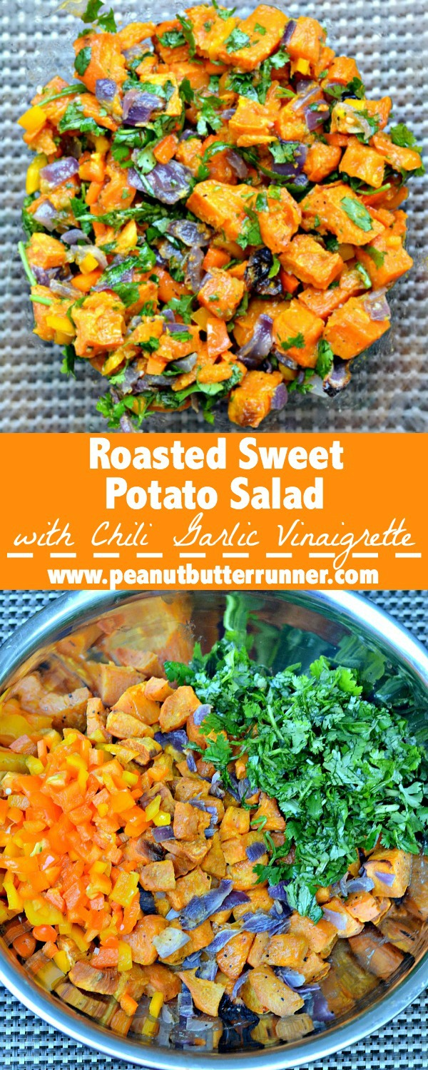 Roasted Sweet Potato Salad with Chili Lime Garlic Vinaigrette. A creative alternative to traditional potato salad and gluten-free, Paleo and Whole30 friendly.