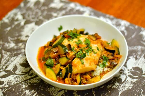 Halibut with Red Coconut Curry