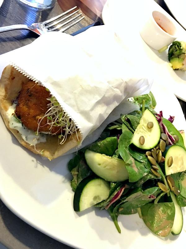 Sweet potato chickpea falafel gyro from Namastay Kitchen