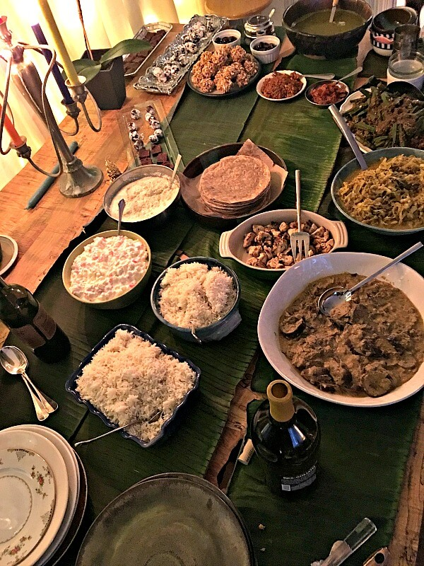 South Indian-style food spread