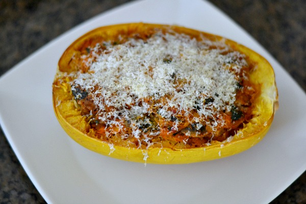 Spaghetti Squash Stuffed with Italian Sausage and Veggies. Gluten-Free and Paleo and Whole30 friendly without the Parmesan.