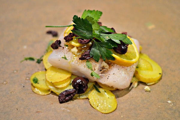 Black Cod with Olives and Potatoes in Parchment