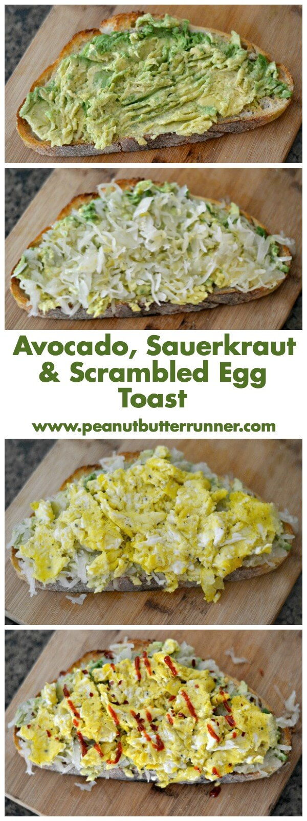 The most addictive avocado toast ever. Avocado, sauerkraut and scrambled eggs on sourdough.