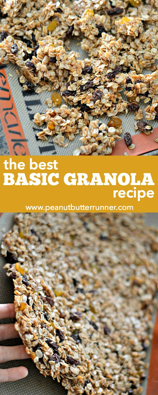 A basic granola recipe with a short ingredients list. This granola is the perfect balance sweet and salty; chewy and crispy. Oats, brown sugar, honey and coconut oil are studded with plump raisins for a delicious breakfast or snack.