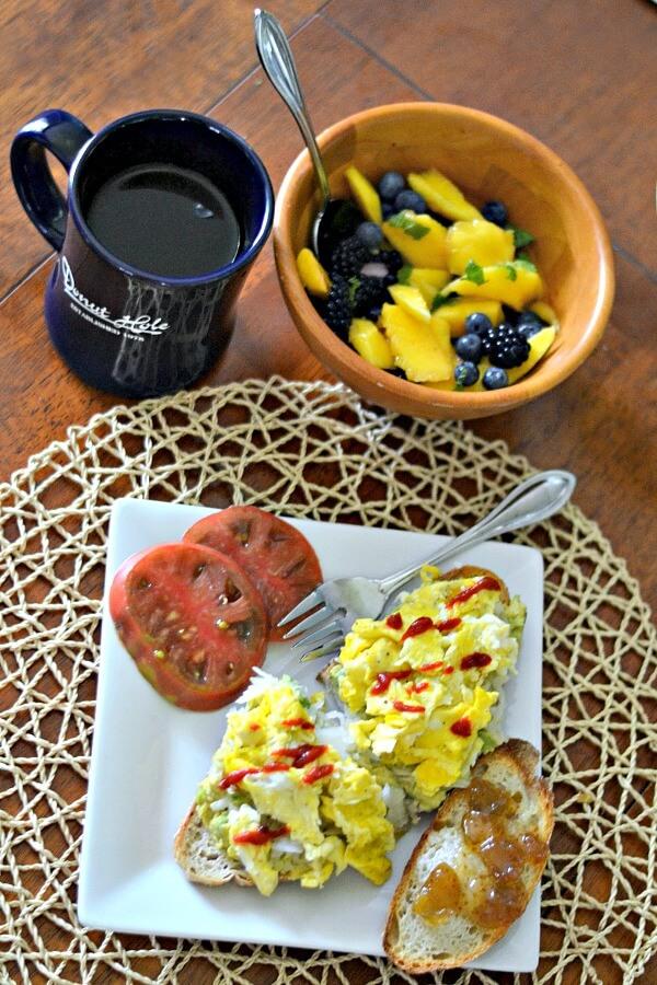 Egg and avocado toast brunch