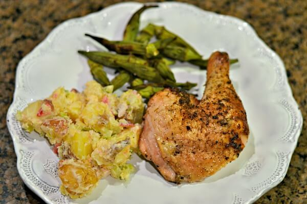 Grilled chicken, potato salad and grilled okra