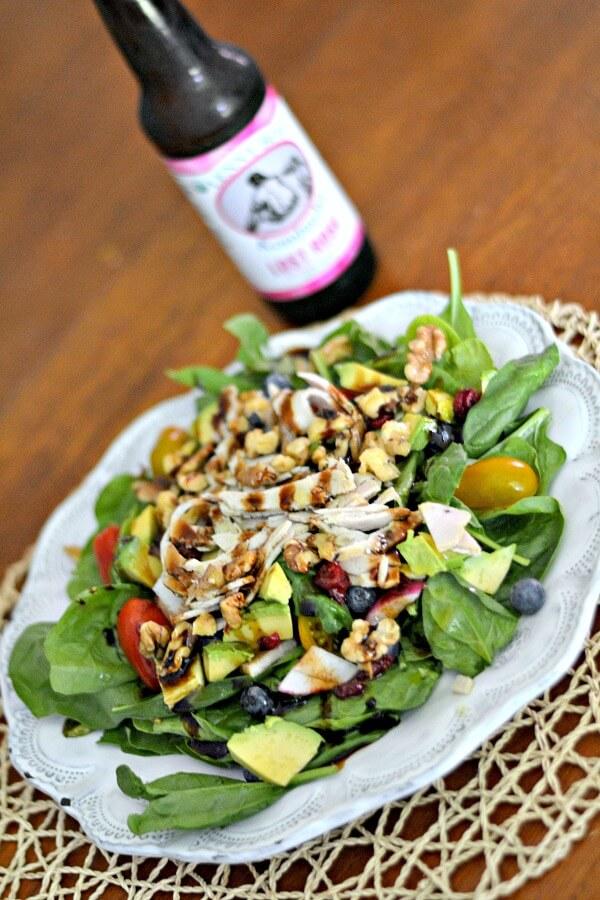 Salad and kombucha