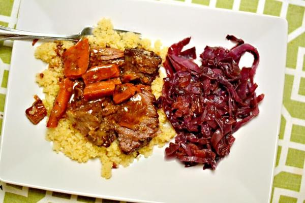 Slow Cooker Short Ribs over Couscous with Braised Red Cabbage