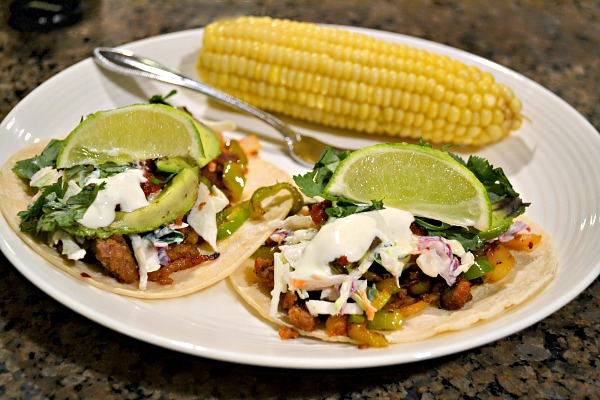 Chorizo and hatch chile pepper tacos