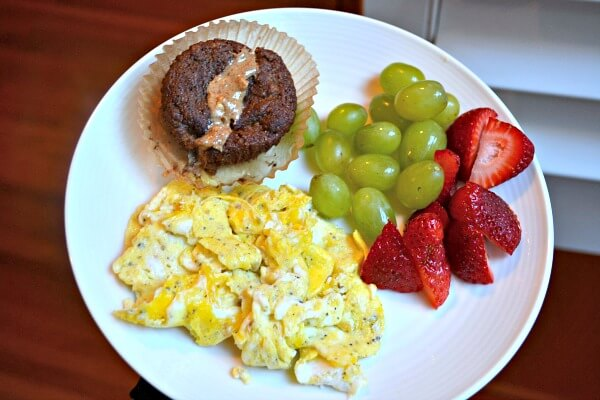 Scrambled eggs, paleo banana muffins, fruit