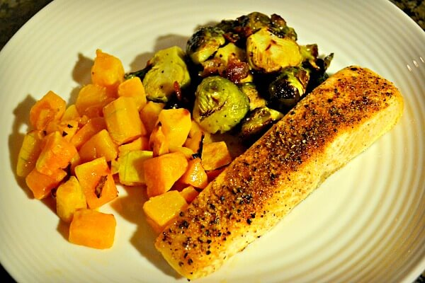 Salmon and Roasted Butternut Squash and Bacon