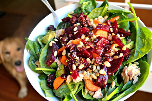 Spinach, beets, avocado, carrots, dried cranberries, pine nuts, canned salmon and balsamic vinaigrette.