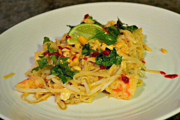 Homemade shrimp pad thai