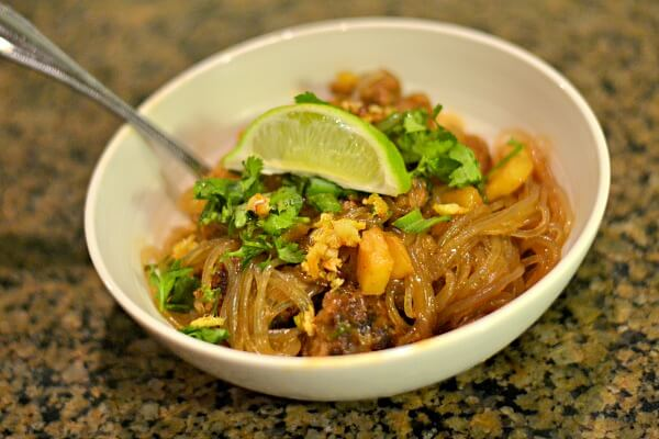 Vietnamese meatballs with sweet potato noodles