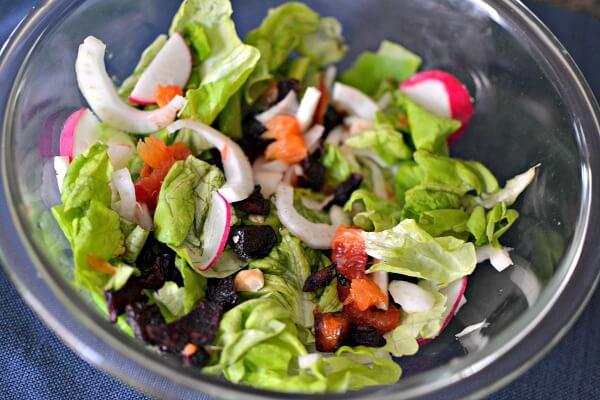 Blood orange salad with ginger miso dressing