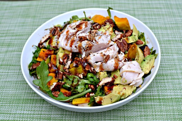 arugula, roasted kabocha squash, avocado, pecans, dried cherries and deli turkey