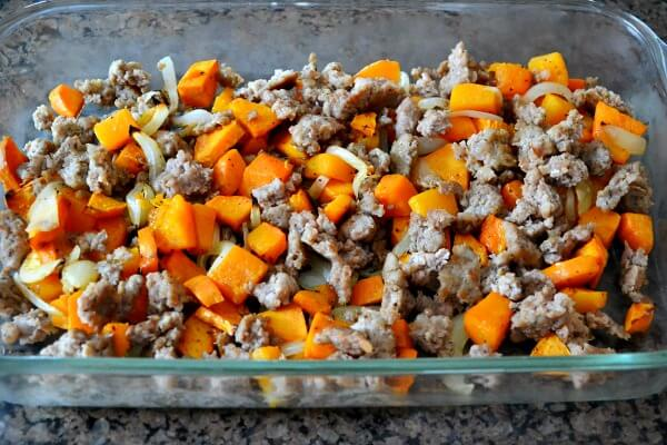 egg casserole with sweet potatoes, butternut squash, sausage and spinach