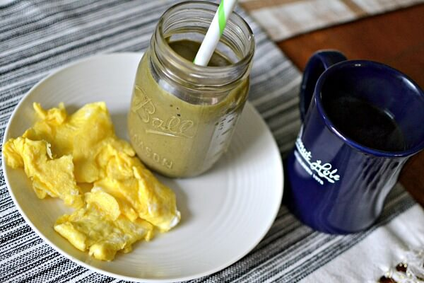 scrambled eggs and a smoothie