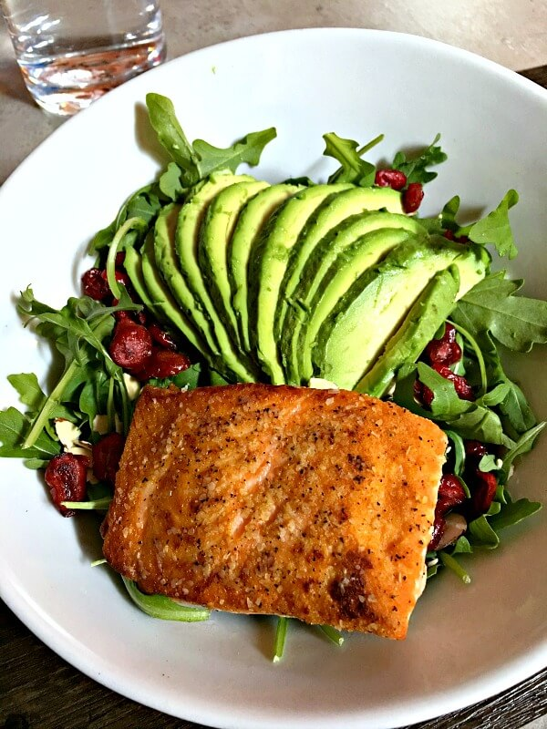 Harvest Salad at Namastay Kitchen minus the goat cheese, add salmon and avocado.