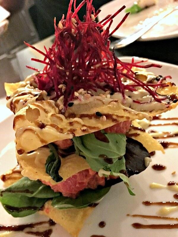 Spicy Tuna Napolean at Namastay Kitchen in Charlotte