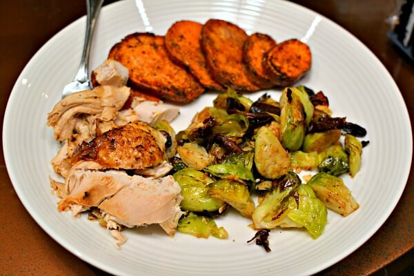 leftover rotisserie chicken breast, roasted sweet potatoes and roasted mushrooms and brussles sprouts