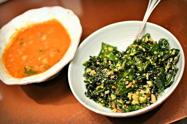 vegan soup and kale and quinoa salad