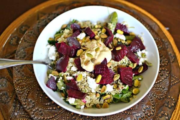 greens, grains and beets salad
