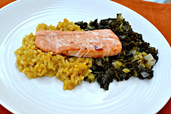 80Fresh Maple Glazed Salmon with Kale and Risotto