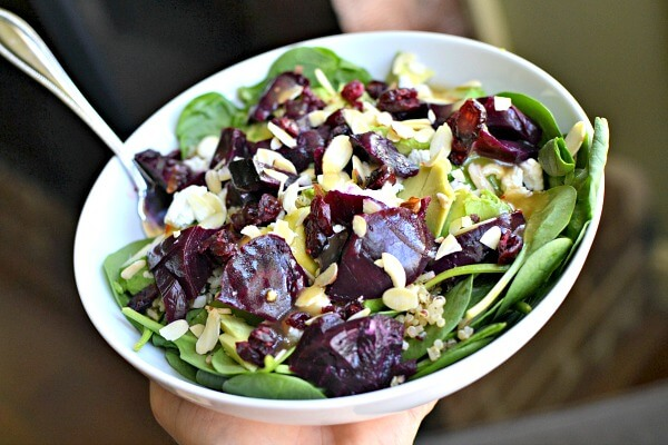 baby spinach, quinoa and beets