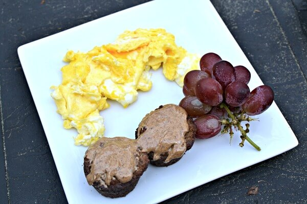 eggs, paleo banana bread muffins and grapes