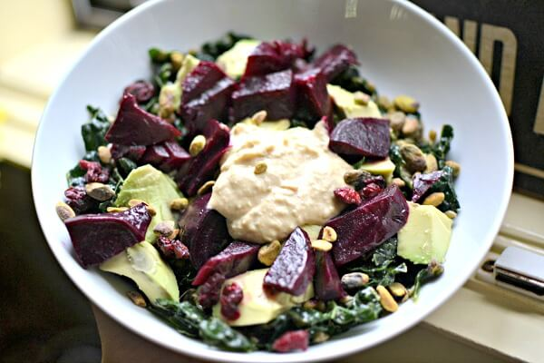 kale and lentil salad and beets