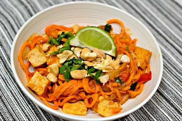 sweet potato noodles with a spicy almond butter sauce with tofu