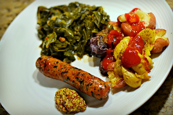 braised collards, smashed roasted potatoes and chicken sausage with grain mustard