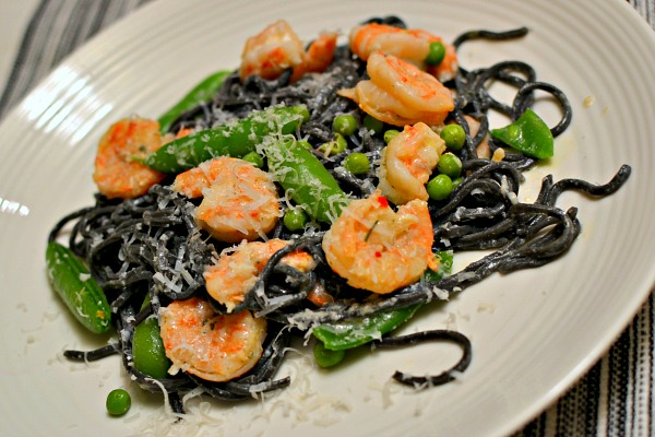 shrimp and squid ink pasta with peas