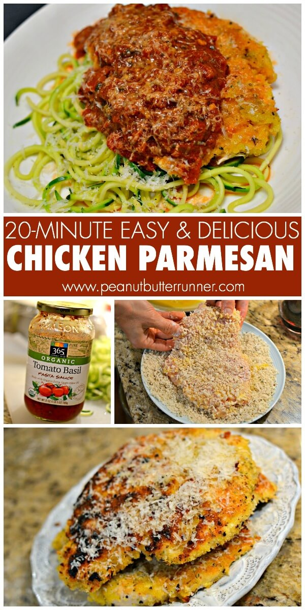 An easy chicken parmesan recipe that's ready in under 20 minutes and sure to please the whole family!