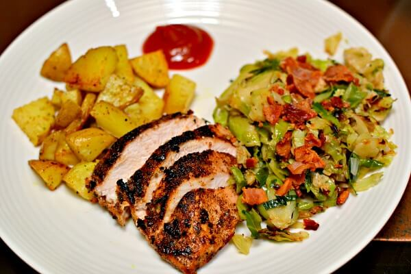 chicken breast, roasted potatoes and shredded brussels sprouts