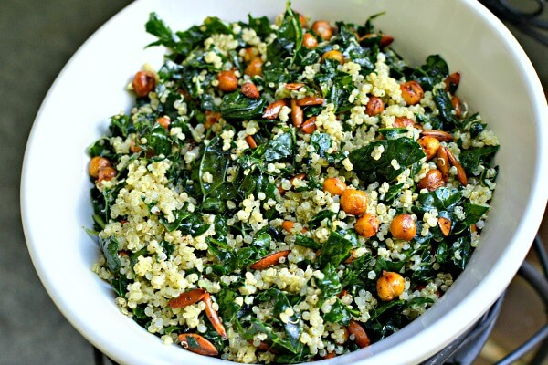 Kale and Quinoa Salad with Roasted Chickpeas and Pepitas