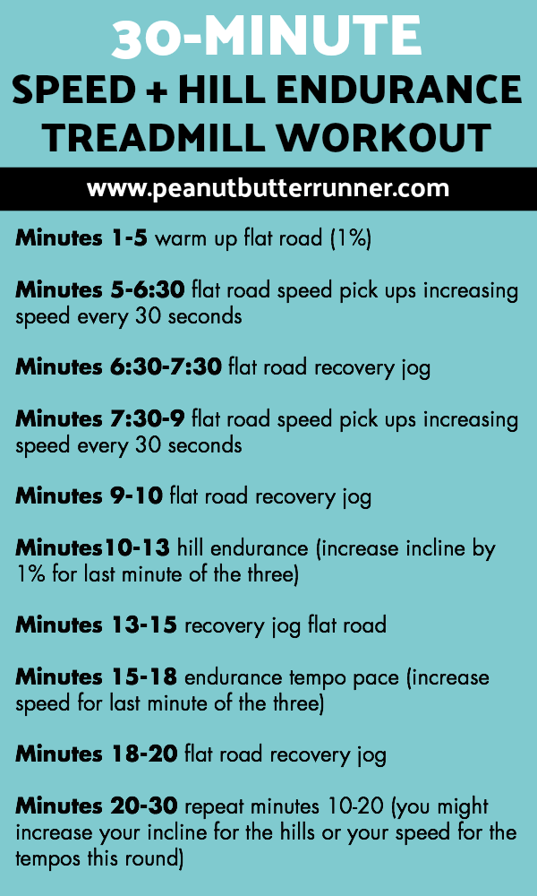 A 30-minute treadmill workout focusing on longer hill and speed intervals.