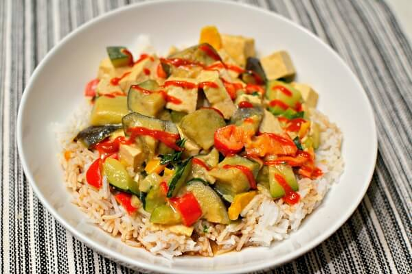 Green Coconut Curry with Eggplant, Tofu and Veggies