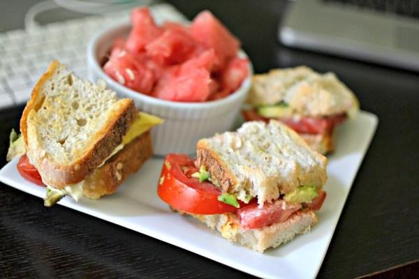tomato sandwich and watermelon