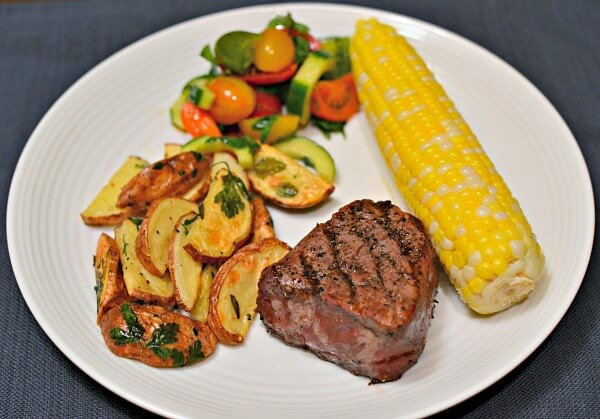 grilled steak with farmers market veggies